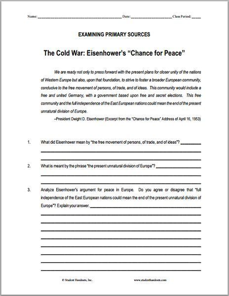 Eisenhower S Chance For Peace Dbq Worksheet Free To Print Pdf