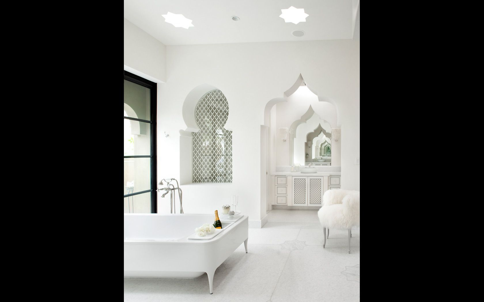 All white exotic bathroom design with marble flooring. Like ...