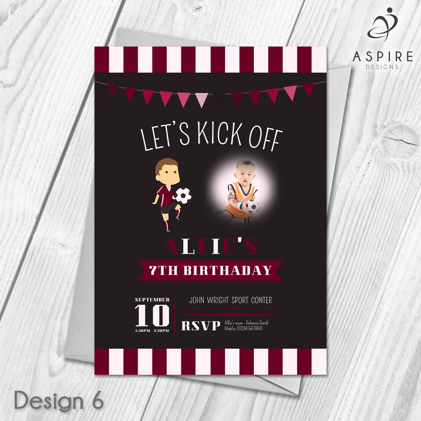 Personalised Children\'s Football Birthday Party Invitations & Envelopes