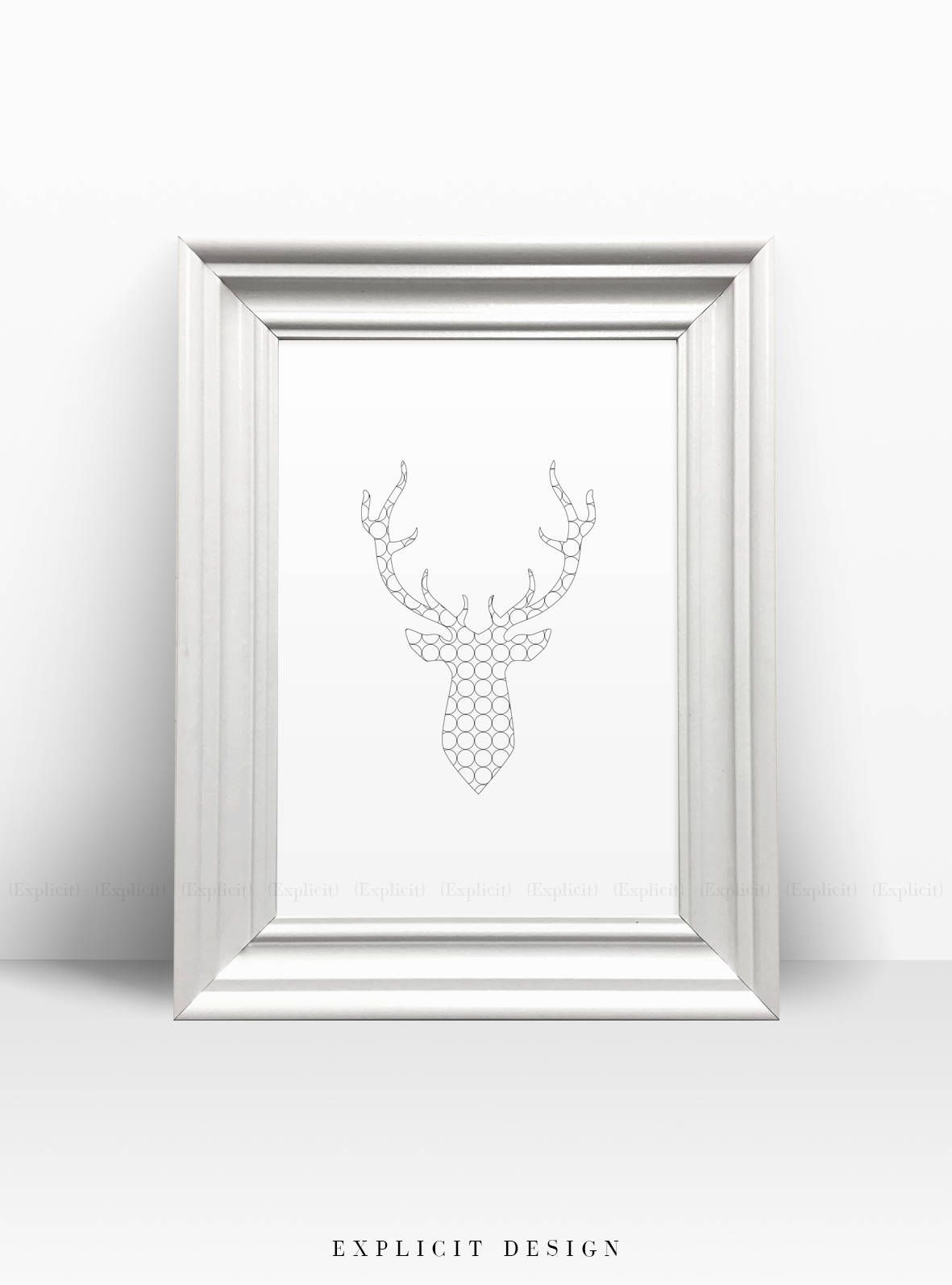 Nursery Wall Art, Deer Antlers Print, Black And White Minimal Artwork  Prints, Tumblr