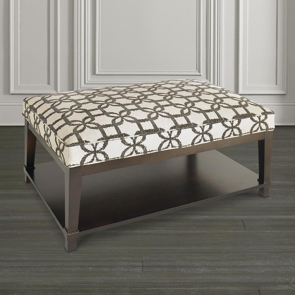 Custom Ottoman Rectangle Ottoman w/Shelf   Belinda