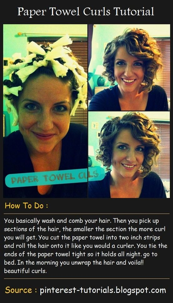 Paper Towel Curls Tutorial... I feel the need to try this.. I wonder if it ll  work on long thick hair a26167fc000d