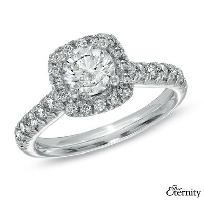 For Eternity 1-1/2 CT. T.W. Diamond Frame Engagement Ring in 14K White Gold - Zales