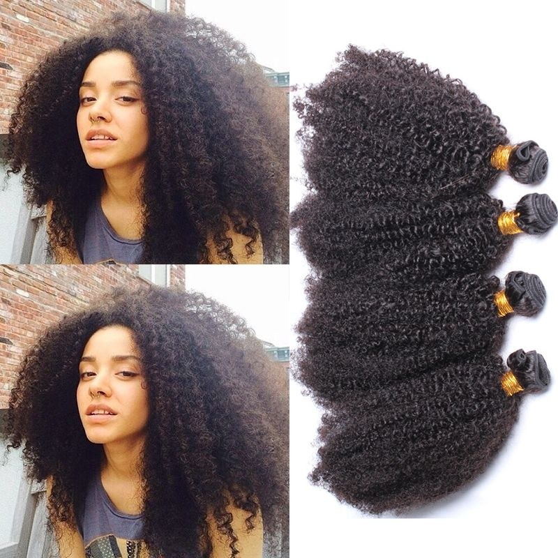 Natural Color Brazilian Remy Human Hair Afro Kinky Curly Hair Weave