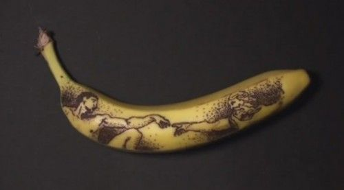 pintura de Miguel Angel en el plátano