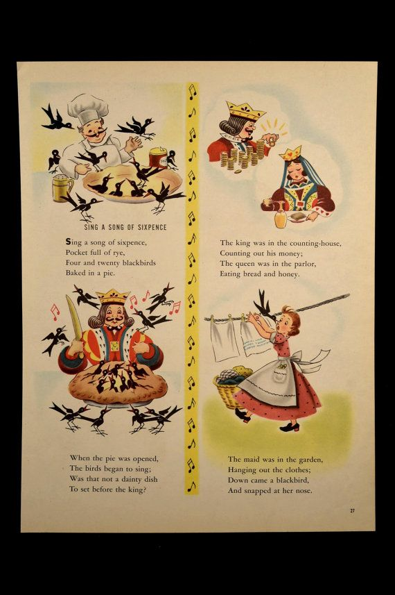 Nursery Rhyme Wall Hanging Sing A Song of Sixpence Decor Art | Wall ...