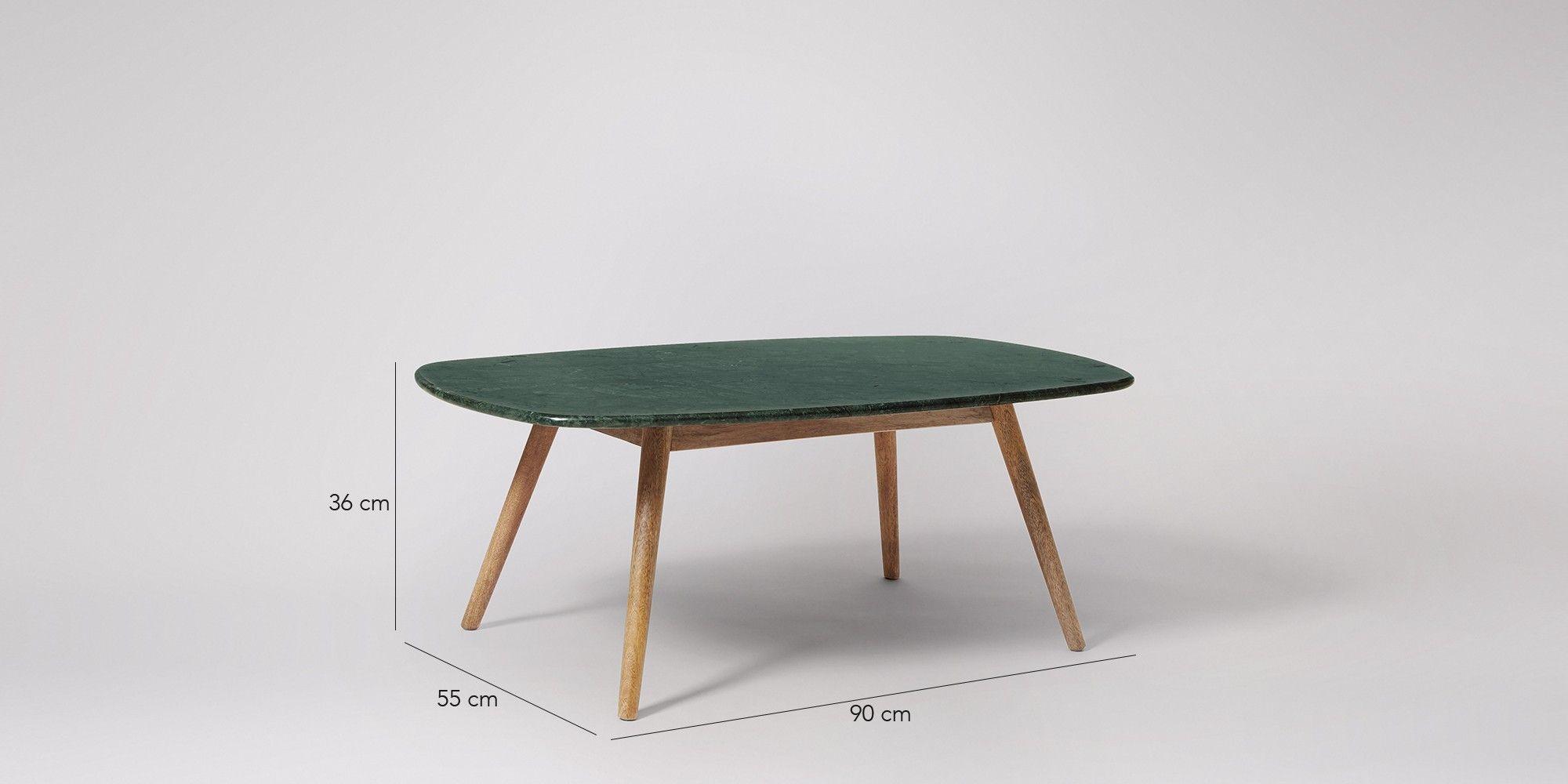 Kasper coffee table in mango wood and green marble
