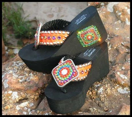 c496688e98f2 Arapahoe Hand Made Swarovski Flip Flops-cowgirl jewelry