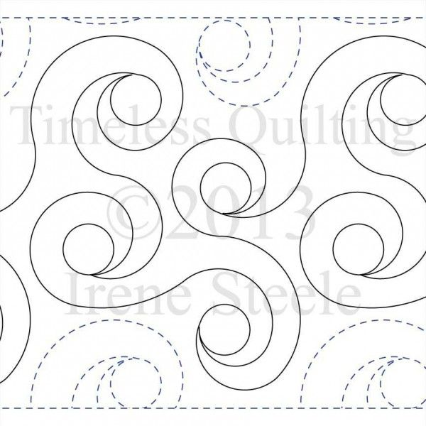 Free Digital Longarm Quilting Patterns : SPIRAL RINGS Paper Version Spiral, Leaves and Ring