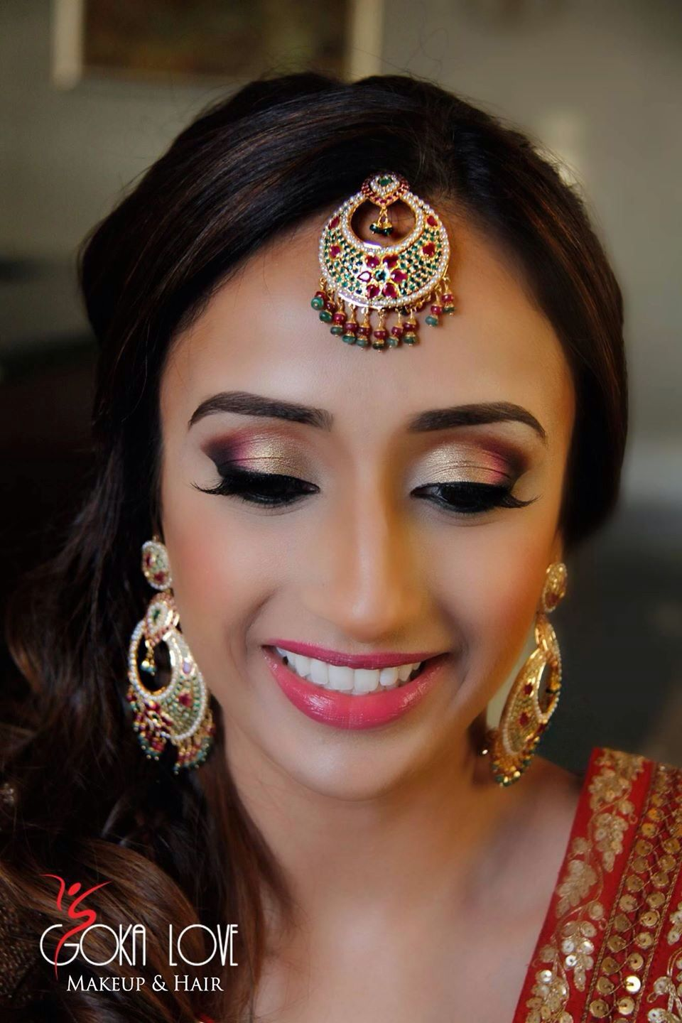 makeup and hair for sangeet. indian wedding, gold and pink. www