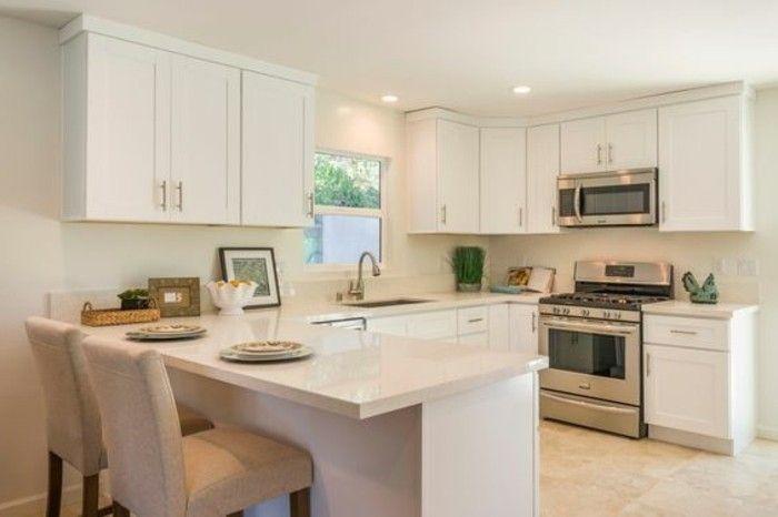 1 modele cuisine americaine avec bar marbre beige meuble blanc beige cuisine taupe cuisine. Black Bedroom Furniture Sets. Home Design Ideas
