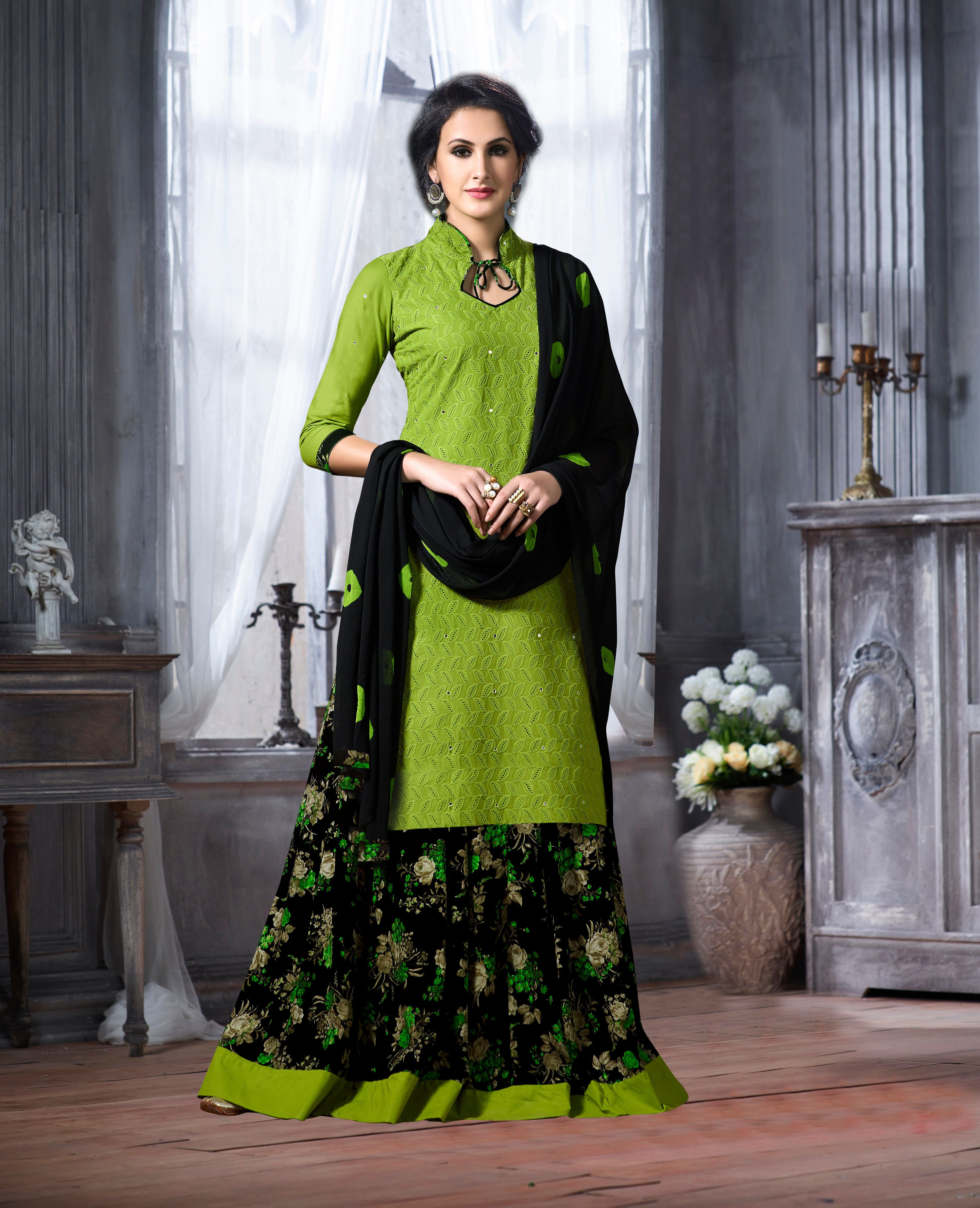 632ecaf1a4 Buy Craftsvilla Green Embroidered Chicken Cotton With Mirror Work Party  Wear Solid Dress Material With Stitched Skirt & Matching Dupatta online.