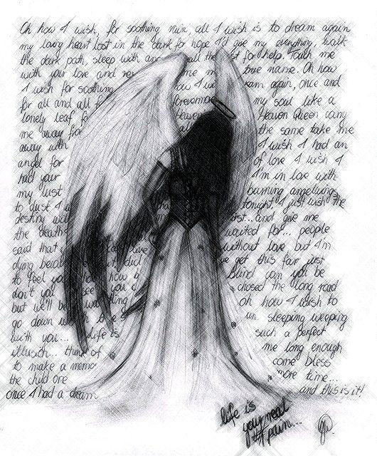 Fallen Angel Anime Drawing