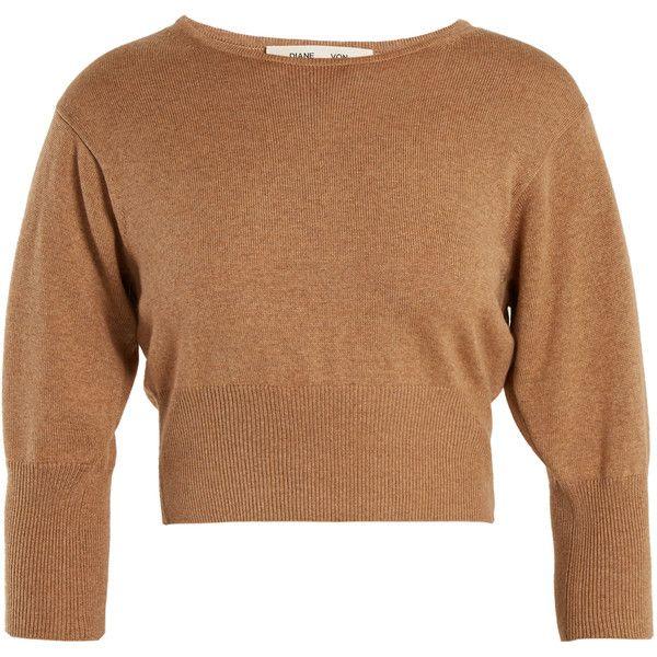 03502d2ca6b Diane Von Furstenberg Round-neck wool-blend knit cropped sweater ...