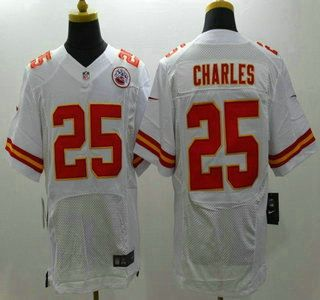 Nike Kansas City Chiefs Jersey 25 Jamaal Charles White Elite Jerseys