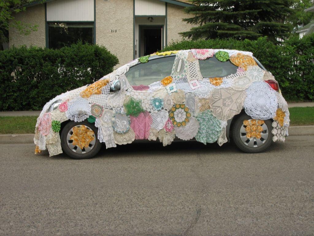 Doilie car cover on Yaris