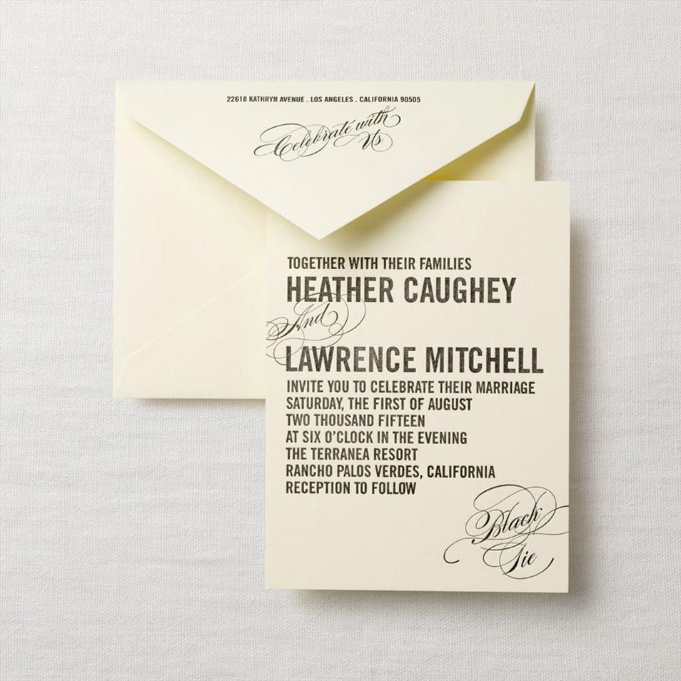 Letterpress Caps Calligraphy Invitation Crane Thick Textured