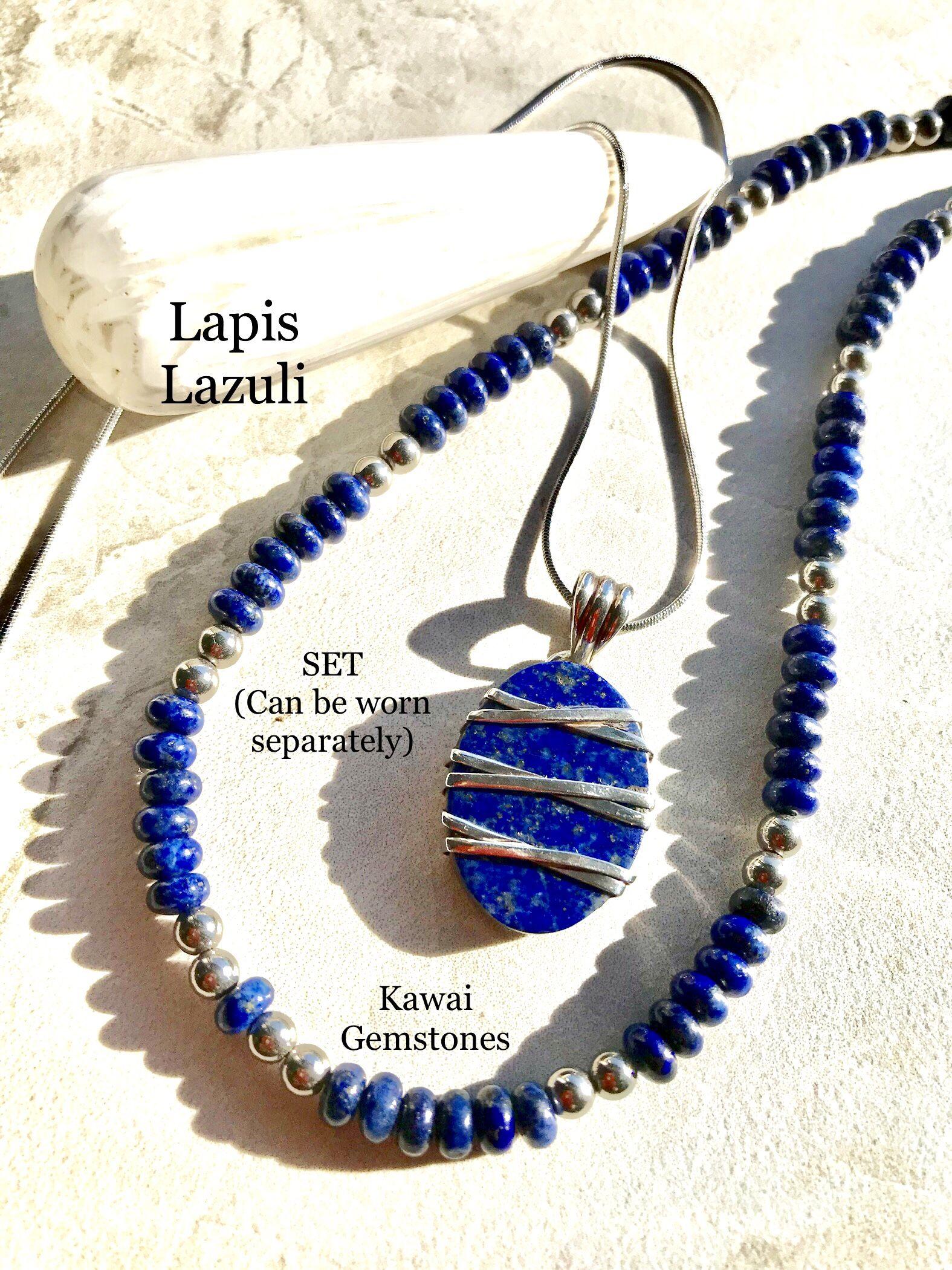 LAPIS LAZULI STONE NECKLACE EARRINGS SET Bee Genuine Rock Gem Pendant Gold Blue
