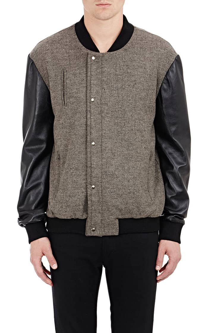 Mens Gray And Black Baseball Jacket with Leather Sleeves | Varsity ...