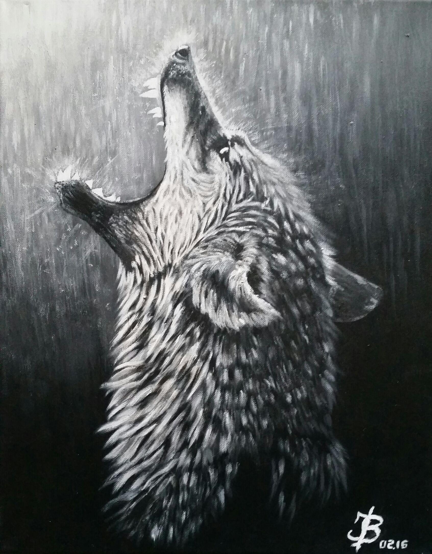 Wolfs Rain #Acrylic #Paint On Canvas #Wolf #Art #Grey #Blackwhite