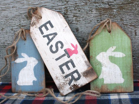 Easter Decor, Bunny Rabbit Sign, Easter Sign, Farmhouse Decor, Country Decor, Primitive Easter, Wood Cabin Sign Tag Set, Decorations