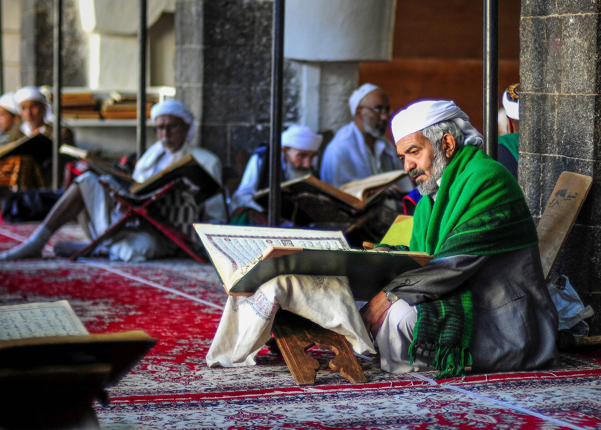 Man With The Green Shawl At The Grand Mosque Sana A Yemen Grand Mosque Yemen Mosque