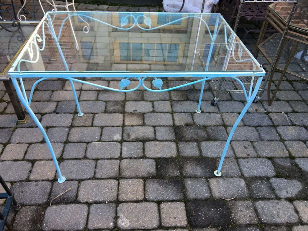 Salterini Style Wrought Iron Glass Top Patio Table Mid Century