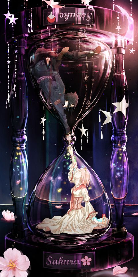 最近 いろいろなグラスの絵を見ました 私もそんな絵を描きたいし 星が大好きだし 水時計も綺麗です ですからこの絵を描きました 今のサスサクはこんな感じだと思います 二人は同じ場所にいても 話すことができません アニメの壁紙 アニメの風景 芸術的
