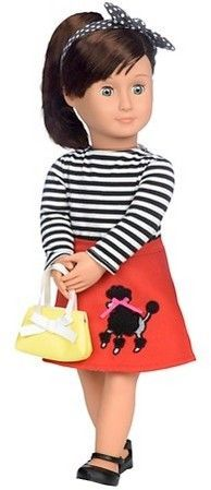 """Battat 19/"""" Doll Backpack Carrying Case for American Girl Heart Pink W// Blue Trim"""