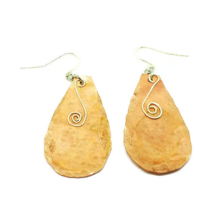 Mixed Metal Copper And Sterling Silver Earrings Tear Drop Dangle