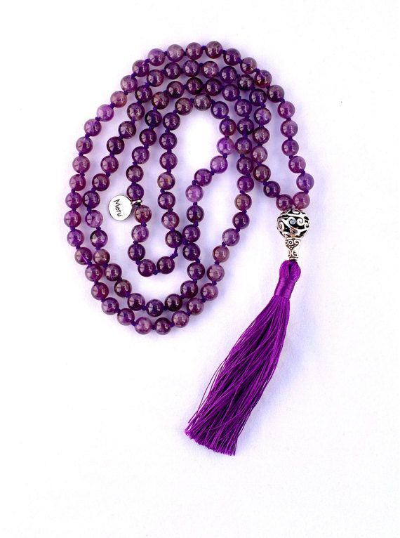 authentic traditional 108 8mm mala beads our amethyst purple mala bead necklaces are 24 u2013 25u2033 long have a 15mm guru bead and have a 35u2033 long tassel made