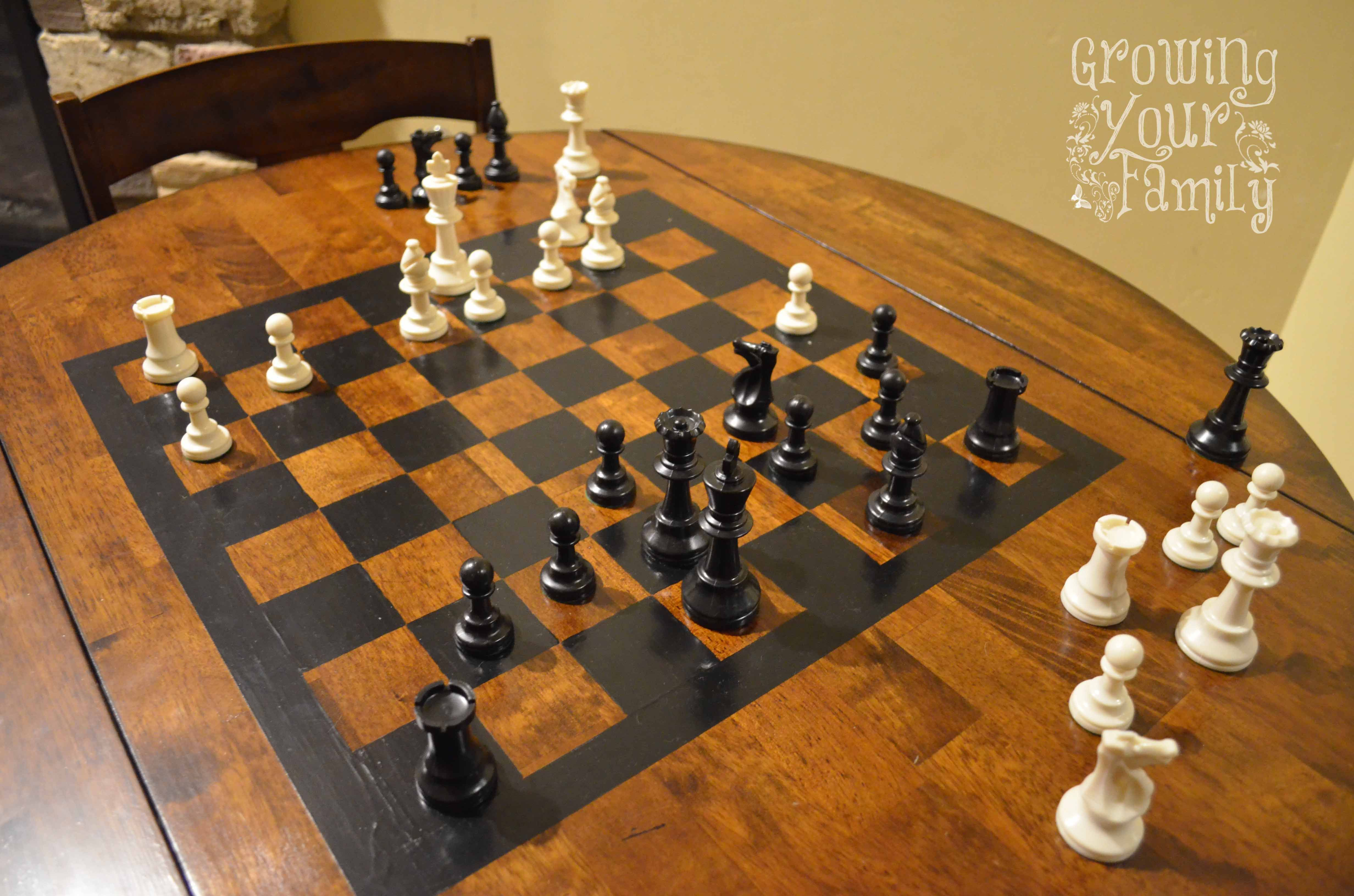 Diy Wood Chess Board Our Diy Chess Table Kids Educational Pinterest Chess