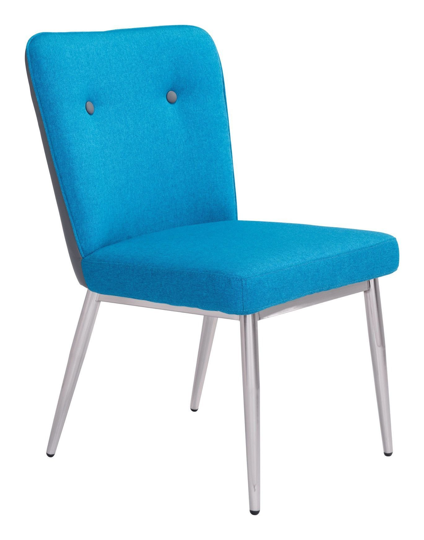 Hope Dining Chair in Blue Fabric with Gray Leatherette Back on ...