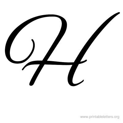 cursive letter h calligraphy