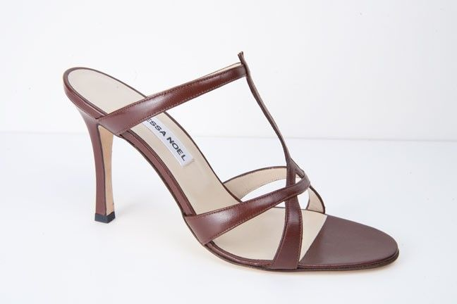 Rhonda Brown: Sexy t-strap style sandal in nappa. Handmade in Italy.