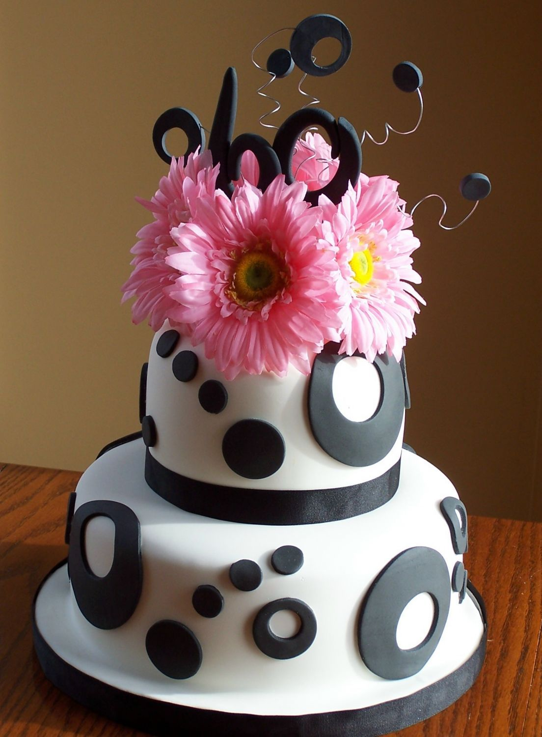 Black and White 60th Birthday Cake Made for a 60th