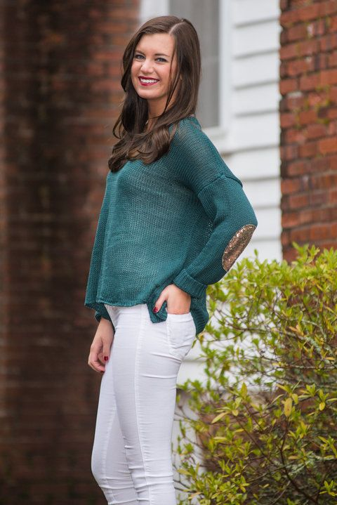 """""""Sequin Shine Sweater, Teal"""" Size M"""