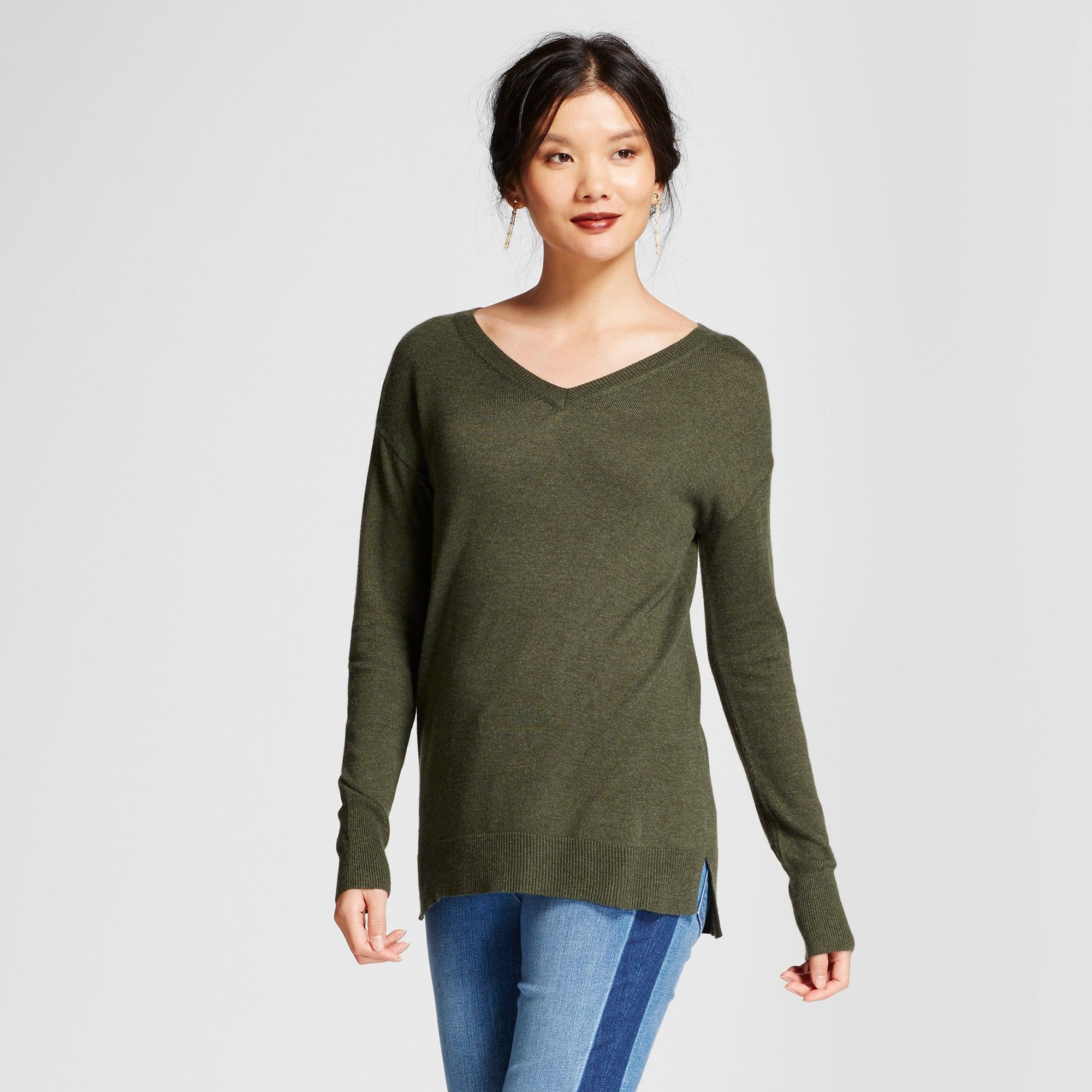 9667fa2bde Women s V-Neck Luxe Any Day Pullover - A New Day Moss (Green) Xxl ...