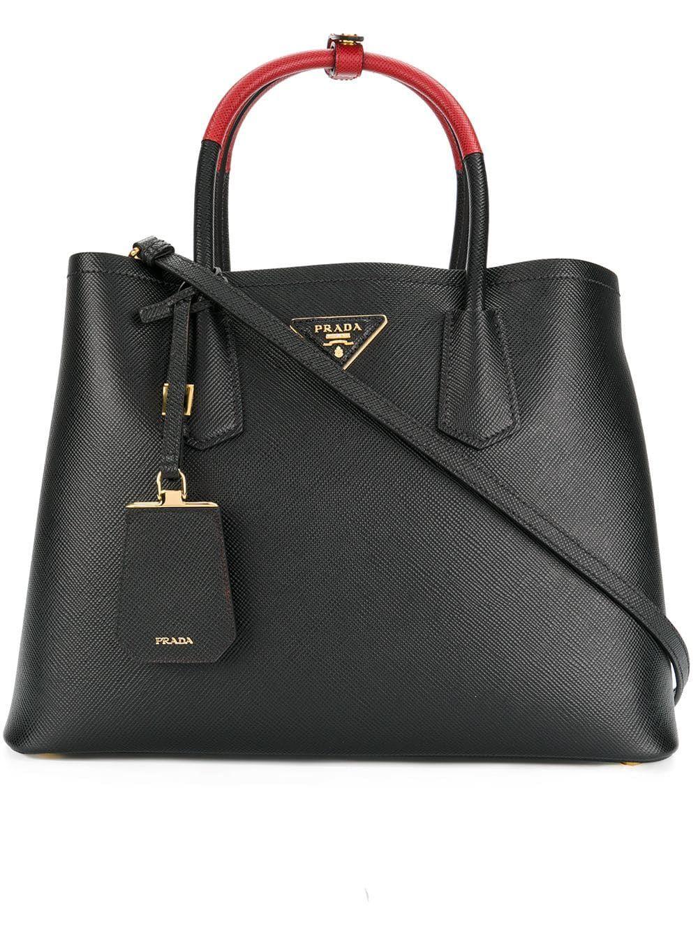 f0eada78671 Prada Double tote bag - Black in 2019 | Products | Prada tote bag ...