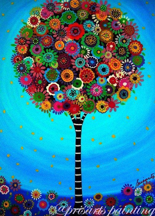L 39 art populaire mexicain arbre de vie bar mitsvah peinture for Arts populaires