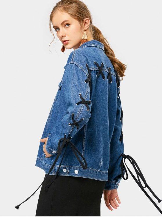 Back Lace Up Faux Pockets Denim Jacket Deep Blue S