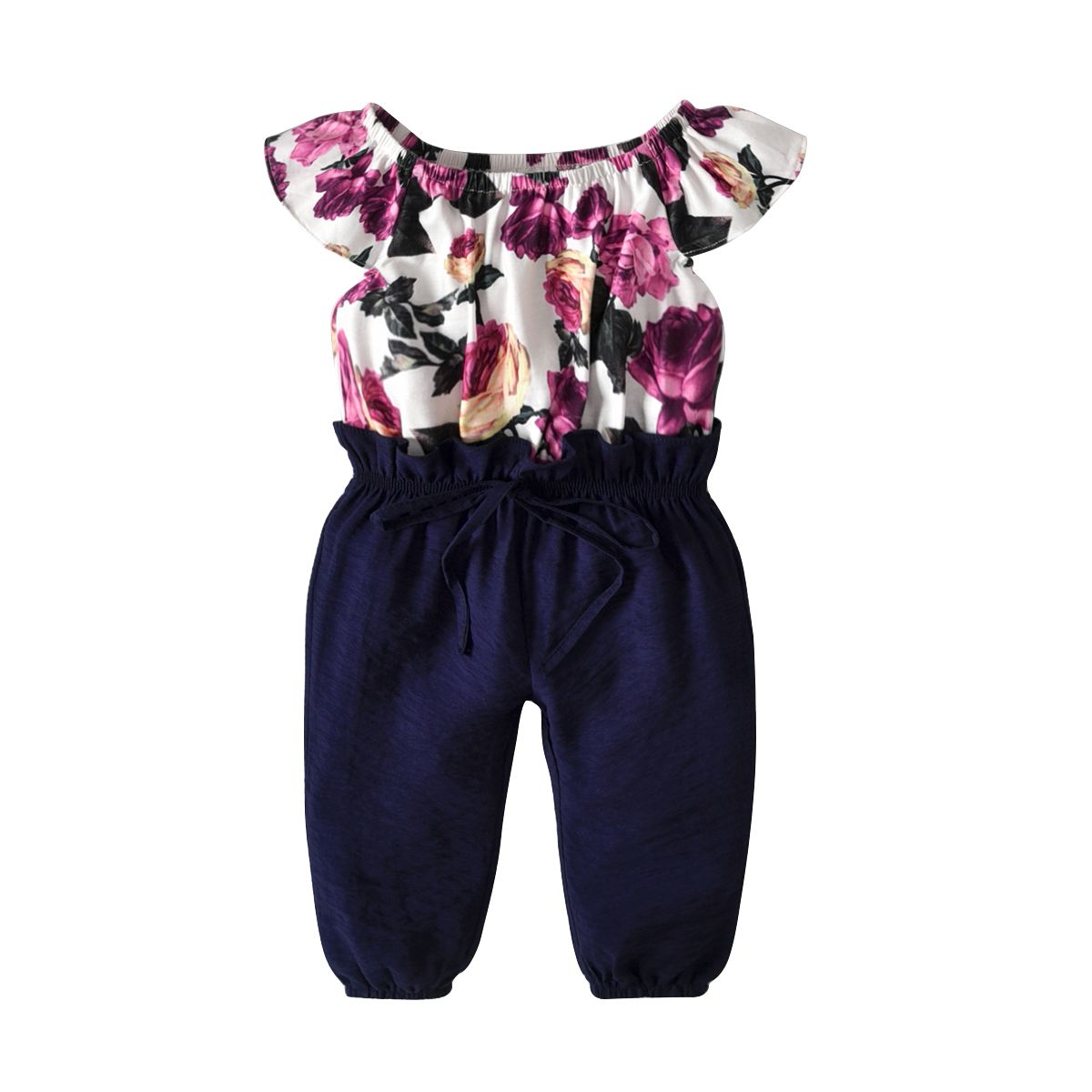 Summer New Floral Print Flutter-sleeve One Piece Rompers