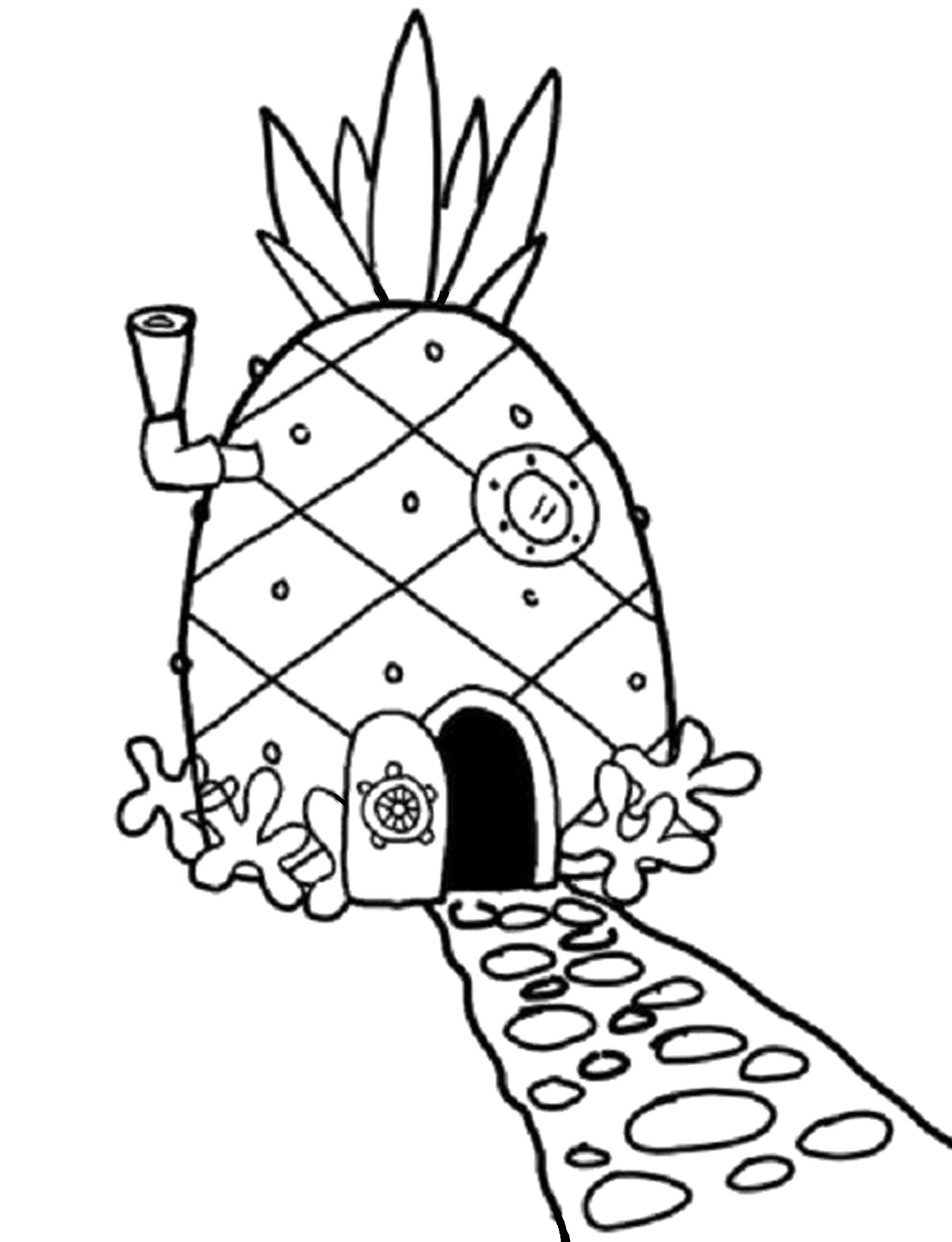 Spongebob House Coloring Pages With Images Spongebob Drawings