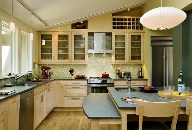 22 Contemporary Concrete And Stone Kitchen Countertop Ideas Vaulted Ceiling Kitchen Contemporary Kitchen Kitchen Design