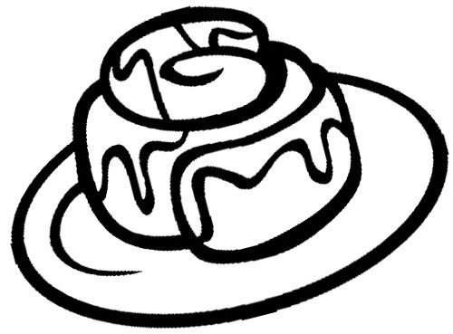 Cinnamon Roll Chocolate Coloring Page Food Coloring Pages