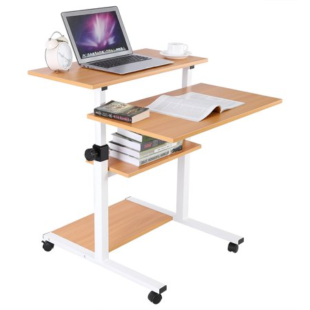 Hurrise Adjustable Computer Desk Wooden Mobile Standing Computer Work Station Desk Adjustable Height Rolling Pres Work Station Desk Desk Adjustable Height Desk