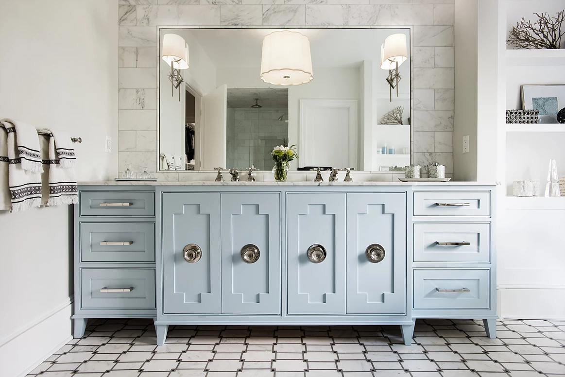 You Re About To See This Decorating Trend Everywhere Blue Bathroom Vanity Blue Bathroom Interior Trending Decor
