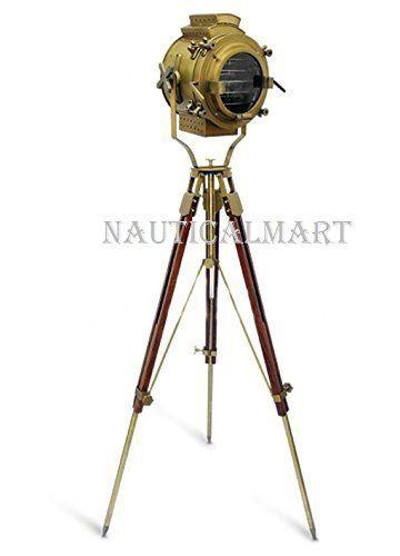 VINTAGE INDUSTRIAL NAUTICAL ANTIQUE BRASS SPOT LIGHT FLOOR LAMP TRIPOD STAND