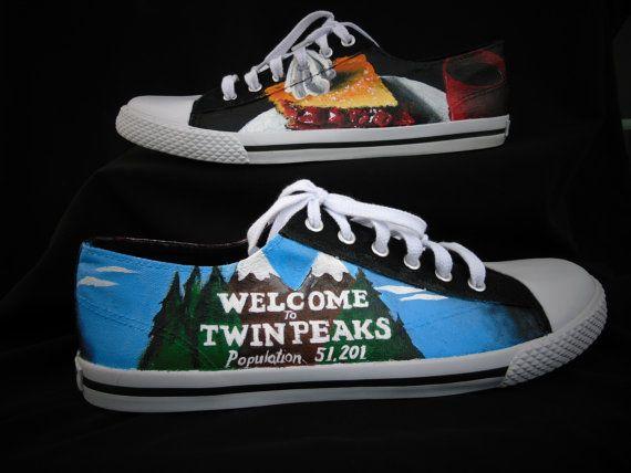 da993b608bf12 Twin Peaks Custom Hand Painted Shoes by EclecticGoodsVa   Custom ...