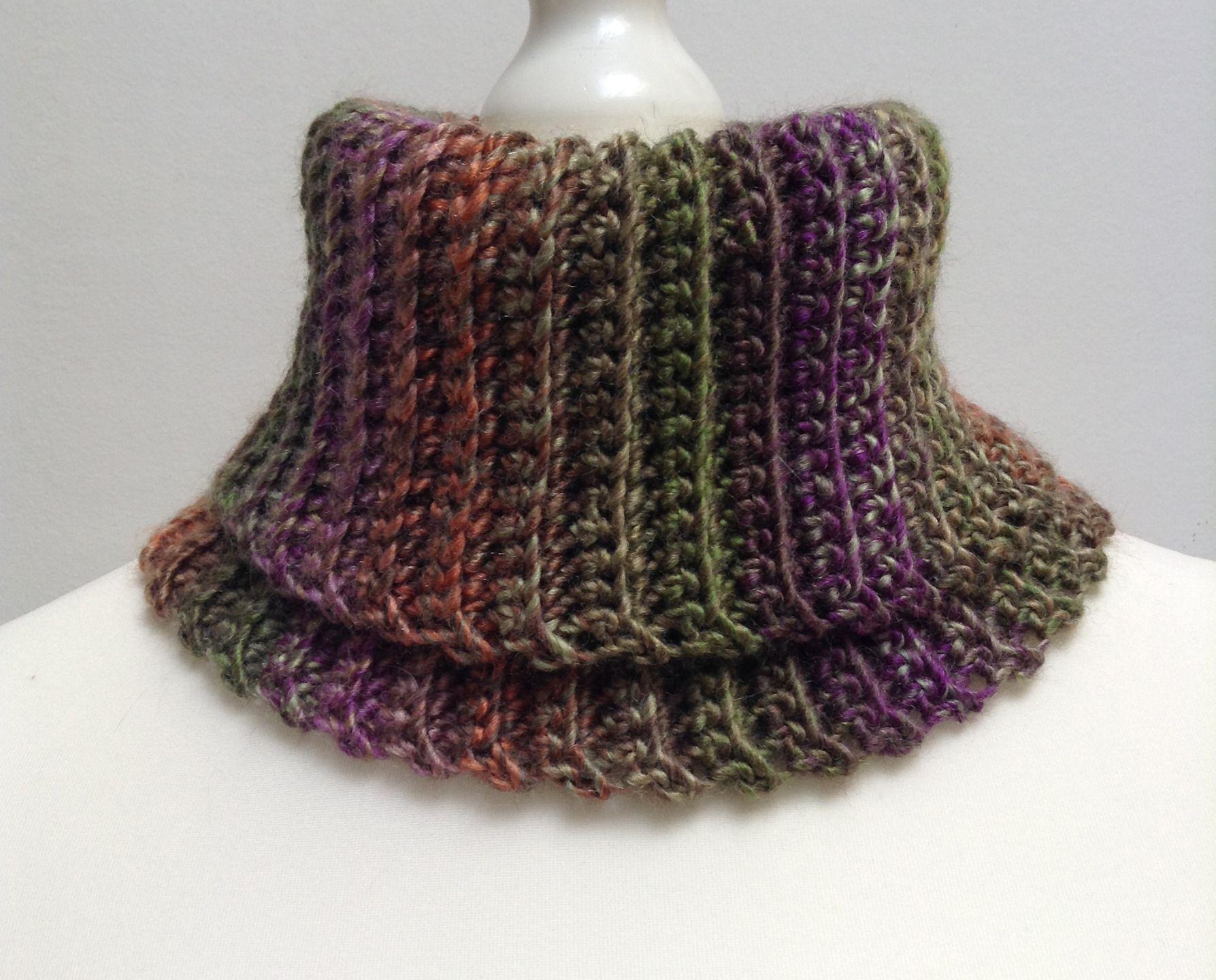 Col roulé en laine et acrylique, multicolore violet, vert, marron, orange,  beige, pour femme   Echarpe, foulard, cravate par titlaine 6761c61a8f4